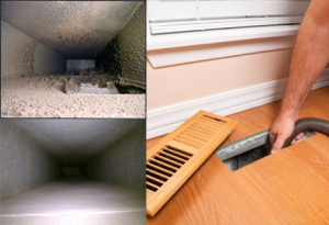Dirty duct-work, below clean duct-work, Mnan cleaning duct-work