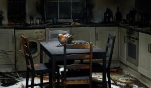 fire damaged kitchen