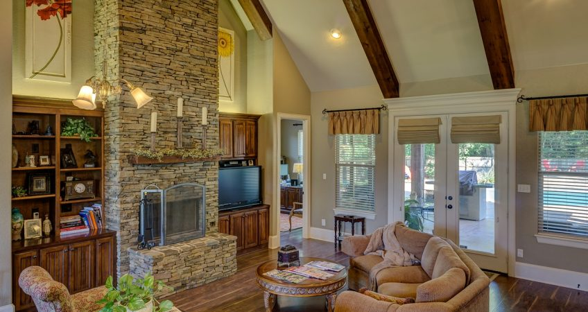 Memphis living room with fire place